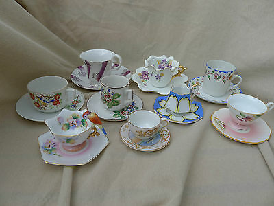 Lot Vtg Tea Cups Saucers Demitasse Made in Japan Occupied Small Hand Painted