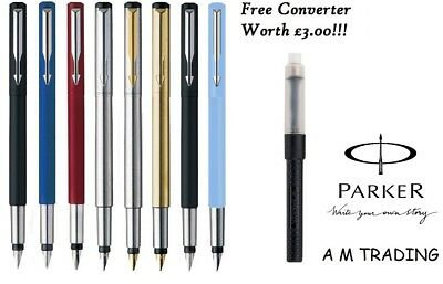 Parker Vector Std, Stainless Steel & Gold Fountain Pen with FREE ink & Converter