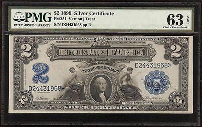 UNC 1899 $2 DOLLAR BILL LARGE SILVER CERTIFICATE NOTE # 2443 1968 Fr 251 PMG 63