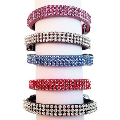 Collar Leather Cat Kitten Puppy Pet Pets safety release adjustable Rhinestone