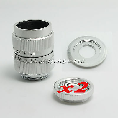 25mm f/1.7 CCTV Lens+ C Mount to M4/3 Adapter + 2 Macro Ring For camera silver
