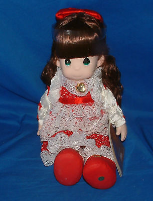 """Precious Moments Collectible Girl Angel Doll Red Dress- 16"""", lot1163"""