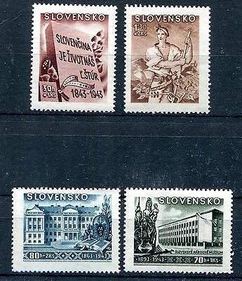 Slovakia Ww2 German Puppet State 1943 Scott B17-B20 Perfect Mnh