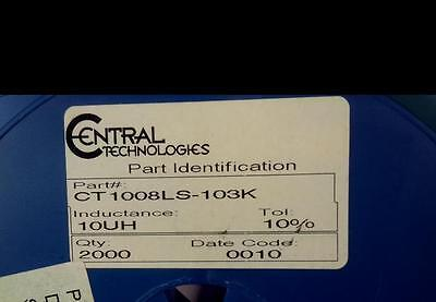 LOT OF (2,000) NEW CENTRAL TECHNOLOGIES 10uH 10% Chip Inductor CT1008CS-103K
