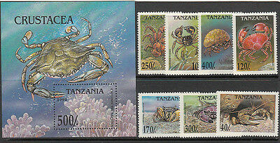 Stamps 1994 Tanzania crustaceans set of 7 plus mini sheet MUH, nice thematics