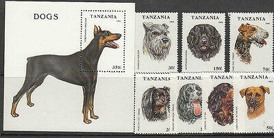 Stamps 1993 Tanzania dog breeds set of 7 plus mini sheet MUH, nice thematics