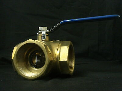 "1 1/2"" (38mm) Brass L Port Ball Valve with Female to Female BSP Thread"