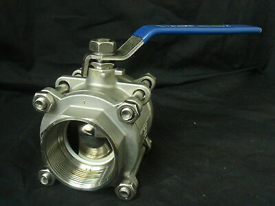 "1 1/2"" (38mm) Three Piece Full Port 316 Stainless Steel Ball Valve"