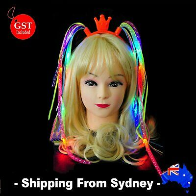 1X LED Flashing Noodle Crown Headband Girl Party Hat Costume Dress Up Light Up