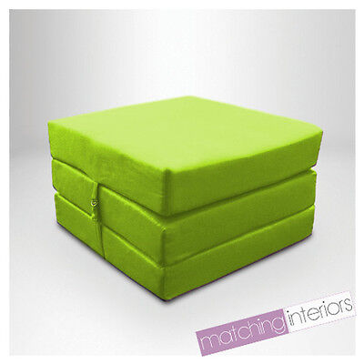 Lime Splashproof Wipe Clean Fold Out Cube Mattress Guest Z Bed Chair Bed Futon