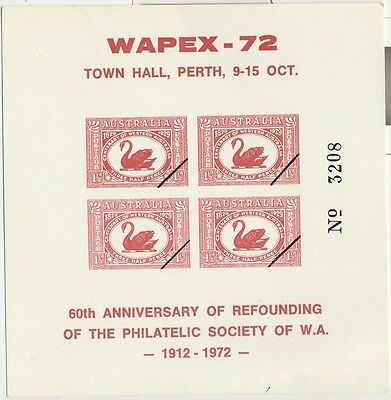 Stamps 1&1/2d red swan 60th anniversary WAPEX 72 Western Australia sheetlet