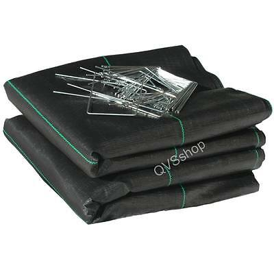 3M X 20M Weed Control/Stop Ground Cover Fabric Sheets + 50 Metal Staple Pegs