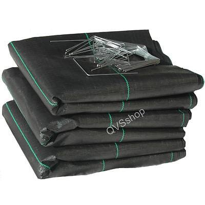 3M X 30M Weed Control Fabric Driveway Membrane Sheets + 75 Metal Staple Pegs