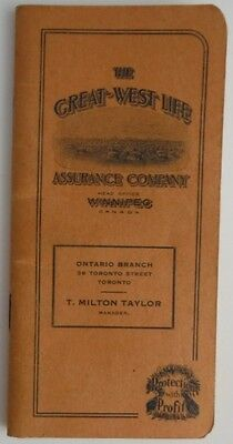1929 GREAT WEST LIFE ASSURANCE COMPANY CALENDAR AND NOTEBOOK