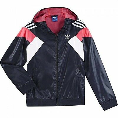 NWT Adidas Girl's  Equip Woven Track Jacket Navy #F51420 M L $53