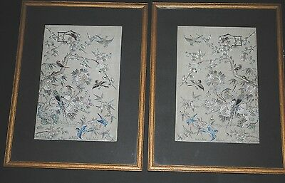 Pair Antique Chinese Silk Hand Embroidered Panel Paradise Bird Qing Dynasty