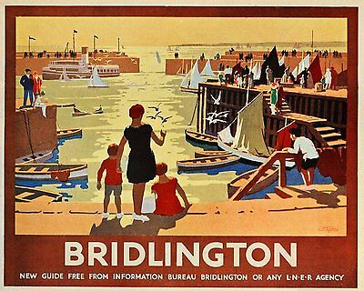 Vintage Rail travel railway poster  A4 RE PRINT Bridlington (new)