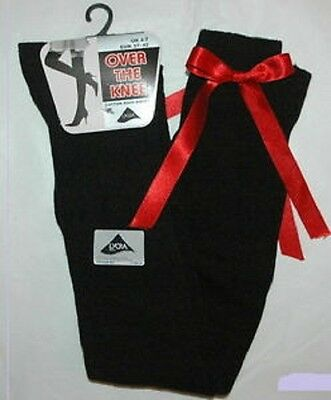 Ladies Girls Long Over The Knee BLAck Socks With RED Satin Bows