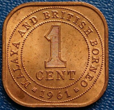 1961 Malaya & British Borneo Cent KM# 5 MS UNC Coin