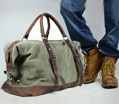 Men Military Canvas Leather Travel Bag Luggage Duffle Gym Bag Sport Tote Hobo