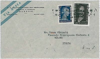 Lovely Argentina Evita Cover To Italy 1953 Postal History