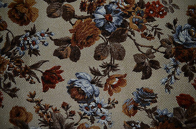 """1960's 1970's Upholstery Fabric Large Weave Brown Blue Floral 66"""" x 57"""""""