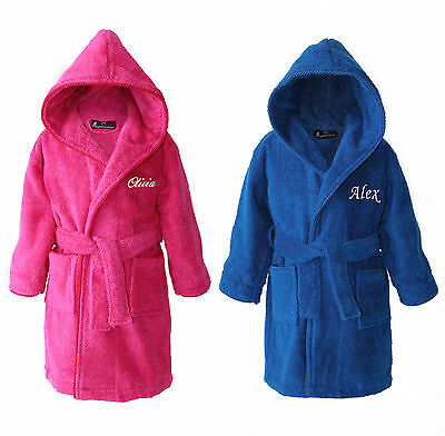 Personalised Kid's Children's Hooded Toweling Bathrobe Dressing Gown Pink Blue