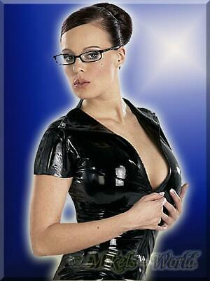 Dessous - Knappes Latex Shirt / Top mit Zip schwarz