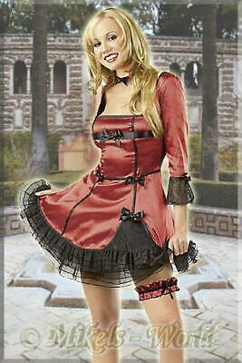 Party Set: Rassiges Satin Mini Kleid rot-schwarz