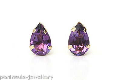 9ct Gold stud earrings Amethyst Teardrop Gift Boxed Made in UK