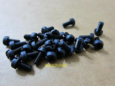 25 Pcs Black Nylon Philips Head Screw  - M4 x 8mm