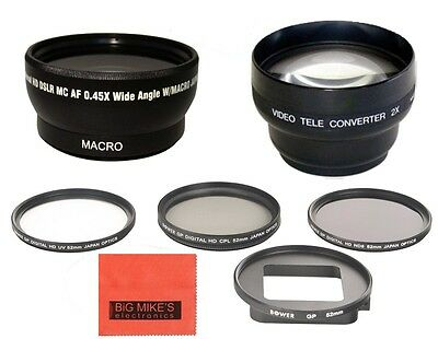 52MM Multi-Coated 3-PC Filter Kit + Wide Angle + Telephoto Lens For Gopro Hero3+