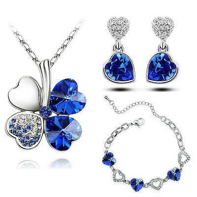 Royal Blue Jewellery Hearts Set Drop Earrings Bracelet & Necklace Pendant S652
