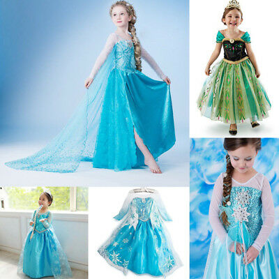 Girl Frozen Dress Costume Disney Princess Queen Elsa Party Birthday size 1-13Yrs