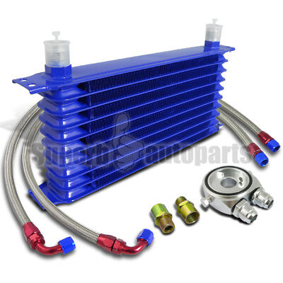 """10-Row Engine Oil-Cooler+M20 Sandwich Adapter Silver+2PC 48"""" S/S Braided Hoses"""