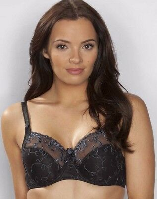 New Lower Price..Pour Moi Imogen Rose 3804 Full Cup Bra Black/Platinum 32-44 D-J