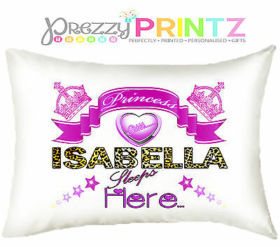 ❤Personalised Girls Princess Luxury Pillowcase Christmas Birthday Gift Leopard❤