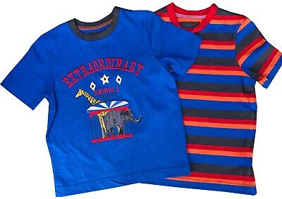 2 Pack Boys T-Shirts Top Quality 18 months to 6 Years Animal & Stripe Designs