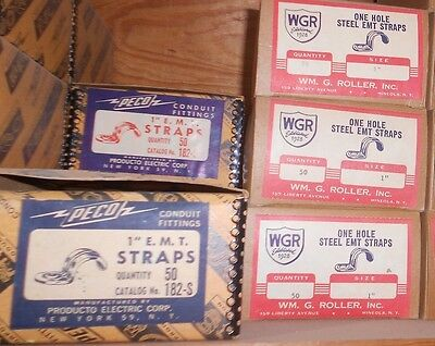 """50 Pc LOT 1"""" NEW One Hole RIGID EMT Conduit CLAMP Steel CLICK-ON Strap NOS"""