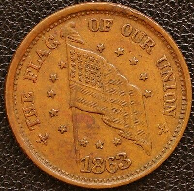 US Civil War Token 1863  -  The Flag Of Our Union - Army & Navy EF+