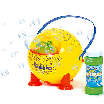 Battery Operated Yellow Ball Bubble Machine Kids Disco Party Toy Game 10048