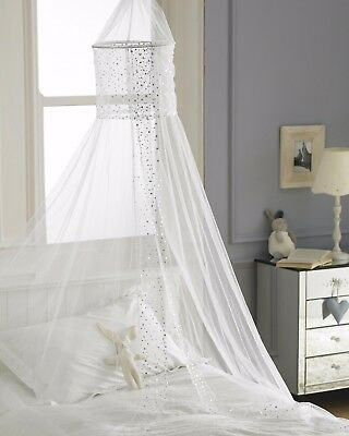 White Canopy Voile Single Bed Girls Net Netting Sequins CUTE Sparkly Princess