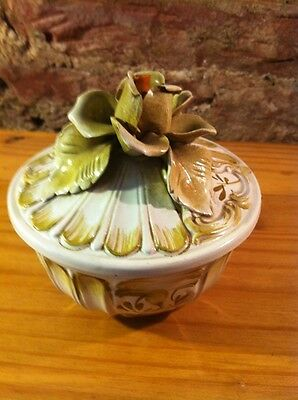 Vintage Capodimonte Crown N Italy Lidded Box Rose