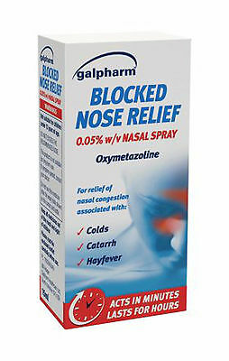 Galpharm Blocked Nose Relief Nasal Spray 15ml - Acts in Minutes Lasts For Hours