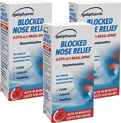 Galpharm Blocked Nose Relief Nasal Spray 15ml x3 TRIPLE PACK