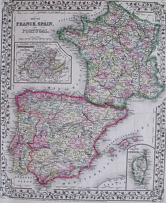 1871 ANTIQUE MITCHELL MAP FRANCE SPAIN PORTUGAL CORSICA