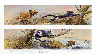 """BORDER TERRIER DOG LIMITED EDITION PRINT by the late Mick Cawston """"Lucky Dip"""""""