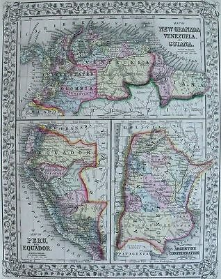 1871 MITCHELL MAP: COLUMBIA VENZUELA ARGENTINA. Hand-colored Engraved Antique.