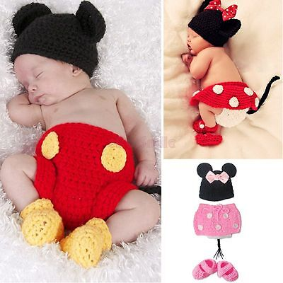 Baby Girl Boy Infant Minnie Mickey Mouse Outfit Crochet Knit Costume Photo Props