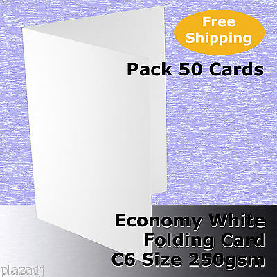 50 x C6 Scored Folding White Economy Card 250gsm folds to 110x155mm #H5322A #F1